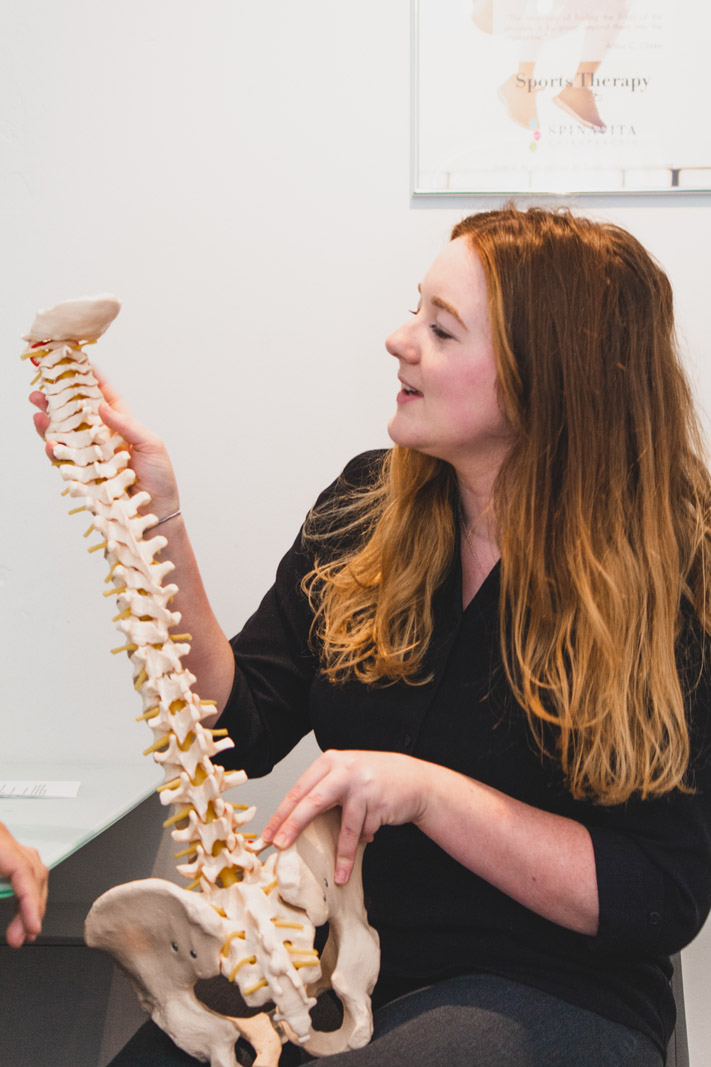 Jess discussing the spine
