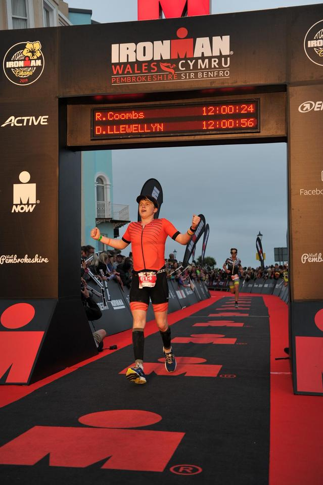 Ryan Coombs at the finish line